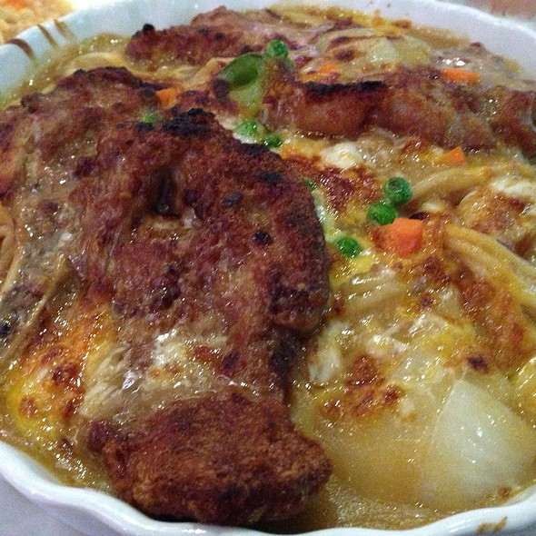 Cheese Baked Spaghetti With Pork Chop In Portuguese Sauce @ hk tea & sushi