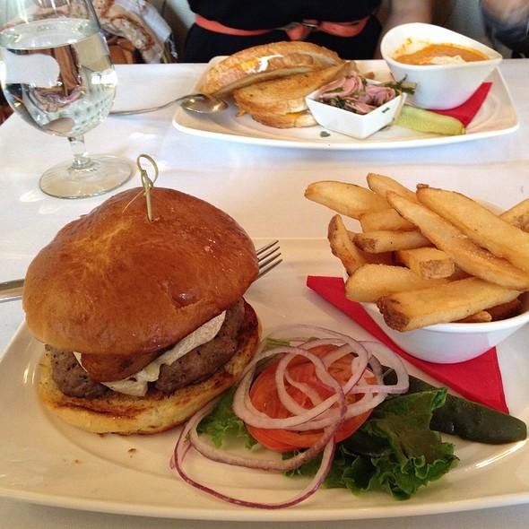 """Banquet Burger"""" House Made Brisket Beef Burger, Pork Belly, Triple Cream Brie Cheese, White Truffle Mustard, Brioche Bun, Steak Fries"""