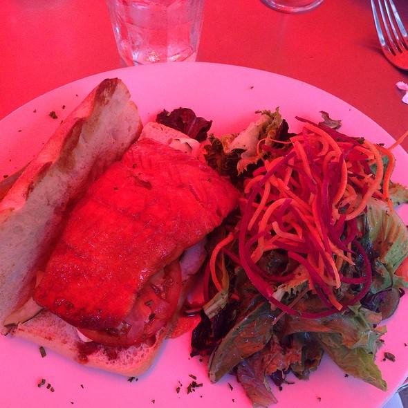Soy Glazed Seared Salmon Sandwich @ Oliver's