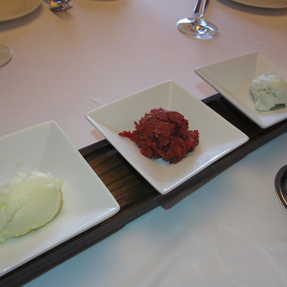 Bread service spreads - butter, tomatoes tapenade and bleu cheese - Ristoranté Brissago, Lake Geneva, WI