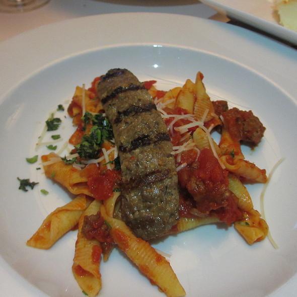 Penne Garganelli alla amatriciana - Italian egg noodles pasta, tomatoes, spicy sausage, pecorino - Ristoranté Brissago, Lake Geneva, WI