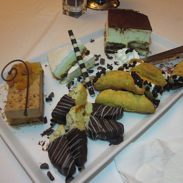 Italian desserts - tiramisu, cheesecake, chocolate apricot cake, biscotti, cannoli - Ristoranté Brissago, Lake Geneva, WI