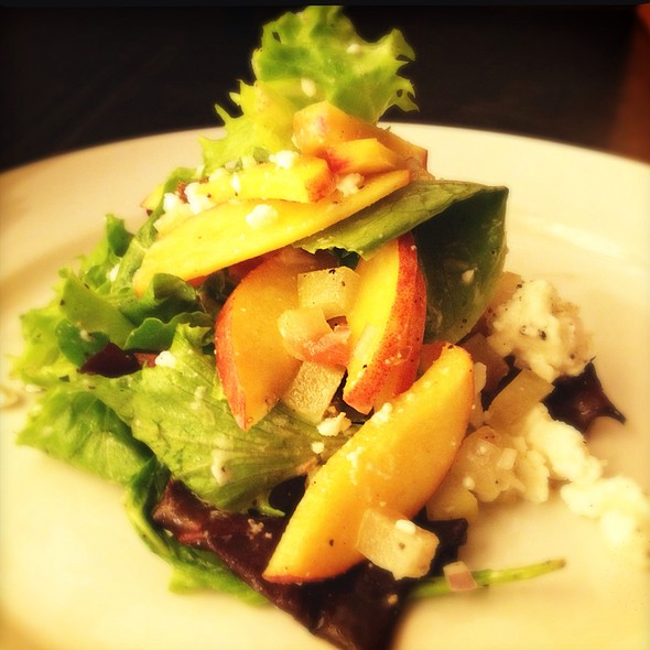 """Our Market Salad Today...""""Alabama Peaches, Pickled Watermelon Rind, French Feta And Heirloom Lettuce"""". @ Ste. Marie"""