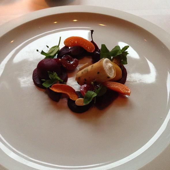 Beets salad - Honey/Truffle Mascarpone, Beet Guacamole, Roasted Golden Beets, Orange-Pernod Espuma - Menton, Boston, MA