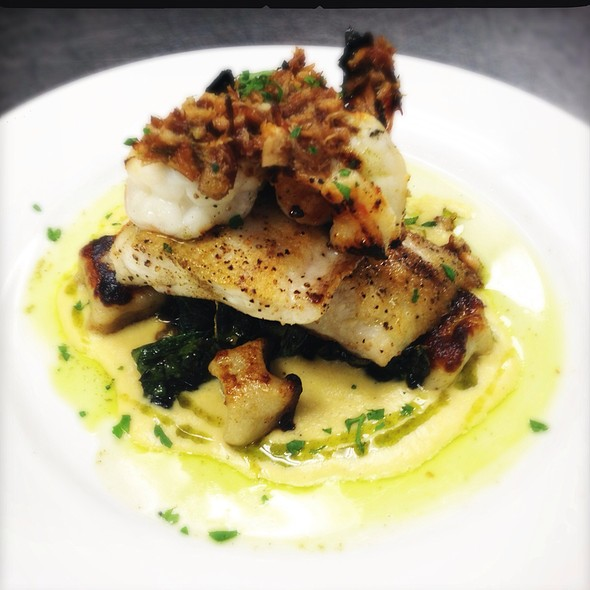 Sautéed La Drum, Grilled Gulf Shrimp, La Tuscan Kale & Potato Gnocchi Over Creamy Corn Sauce And Pork Belly Vinaigrette! @ Ste. Marie