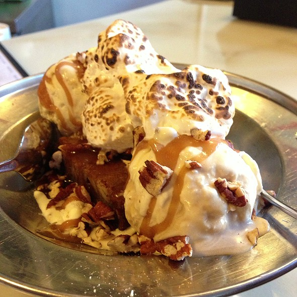 Blondie Sunday (Warm pecan blondie with a scoop of vanilla ice cream, butterscotch sauce, pecans, and toasted marshmallow fluff) from @ The Ice Cream Bar / Soda Fountain