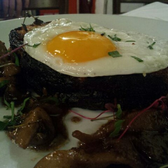 Grilled Sourdough Toast with Fried Egg and Sauteed Mushrooms  - Cupping Room Cafe, New York, NY