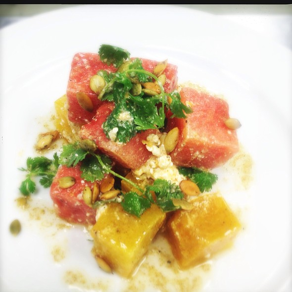 Today's Market Salad..La Golden Beet, Watermelon, French Feta, Toasted Cumin Vinaigrette & Roast Pumpkin Seeds. @ Ste. Marie