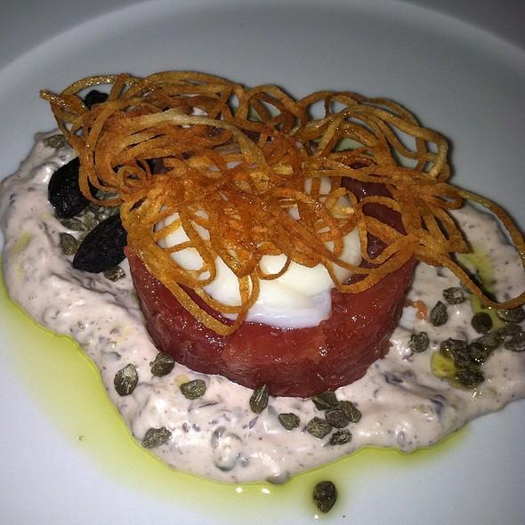 Hawaiian Tuna Tartare  Poached Egg, Olive Caper Remoulade, Crisp Potato Nest - DANTE, Cleveland, OH