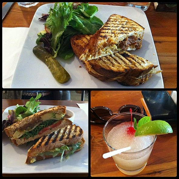 Lunch with @jebbbica and @billywoa at @catch122 - Pulled Pork Grilled Cheese x2, Avacado Panini, and my Mon Cheri Lemonade (thought it'd give me a buzz but not even close :/) @ Catch 122