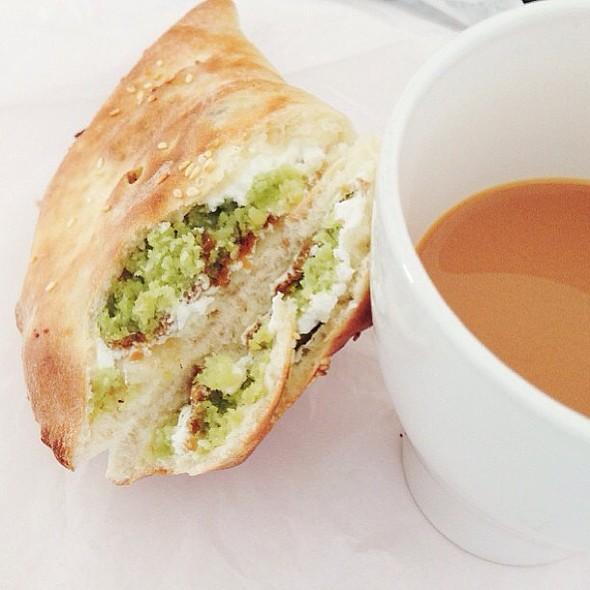 Simple breakfast.. some felafel fatayar with tea ❤ Good Morning Foodies @ KBT
