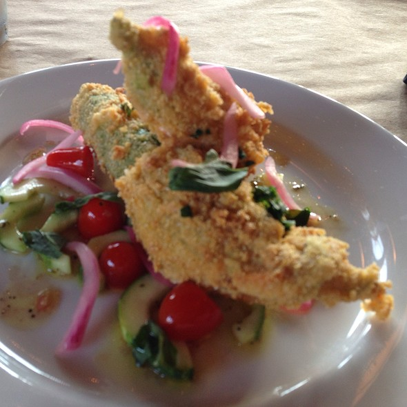 Fried Pimento Cheese Stuffed Squash Blossoms - Dyrons Low country, Mountain Brook, AL