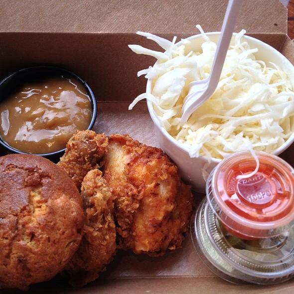 Fried Chicken With Home Made Mushroom Gravy, Hot Sauce, Creamy Coleslaw, Pickled Jalapeno & Cilantro Crema @ Porchetta & Co.