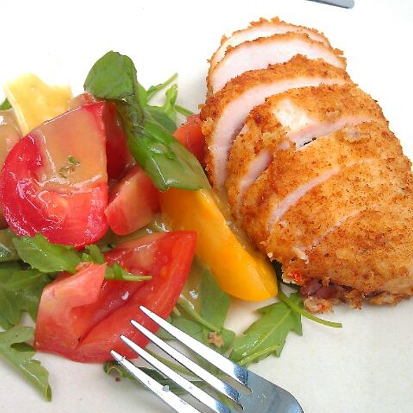 Chicken Stuffed With Apple Sausage With Mix Country Green And Heirloom Tomatos @ Cafe 57 (Hearst Building)