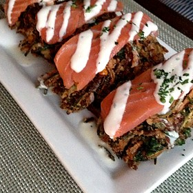 Corn Fritter With Salmon - Vertical Wine Bistro