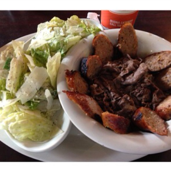 Naked Combo - Italian Sausage And Beef With A Caesar Salad