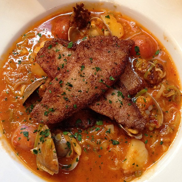 Fried Sole Wirh Clams, Chorizo, And A Tomato Saffron Broth