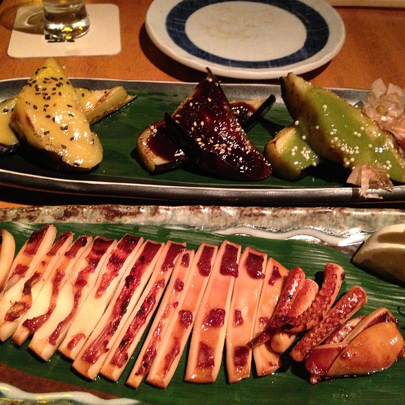 Grilled Eggplant & Grilled Squid