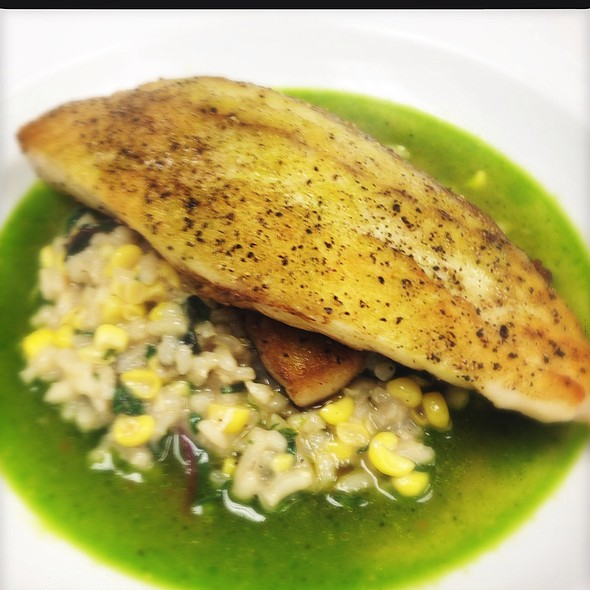 La Drum Over Silver Queen Corn Risotto And Basil Corn Broth @ Ste. Marie