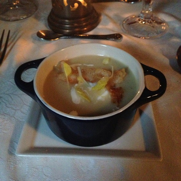 Spring Pea Bisque With Dungeness Crab Tempura @ Stone Soup Cottage