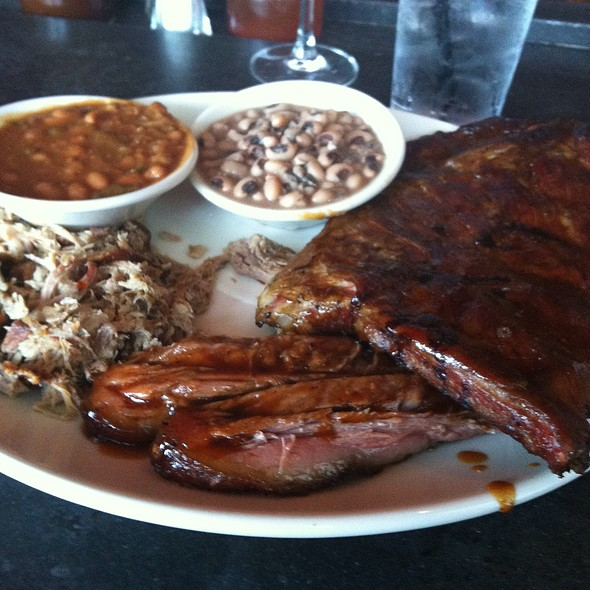 4 Item Combo Plate With Brisket, Chopped Pork, Pulled Pork And Chicken - The Pit Authentic BBQ, Raleigh, NC