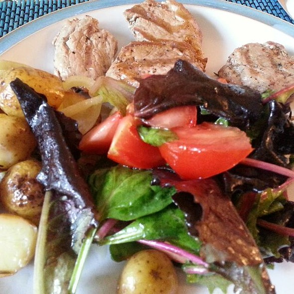 pork fillet with roasted new potatoes and salad @ chez moi Isleworth