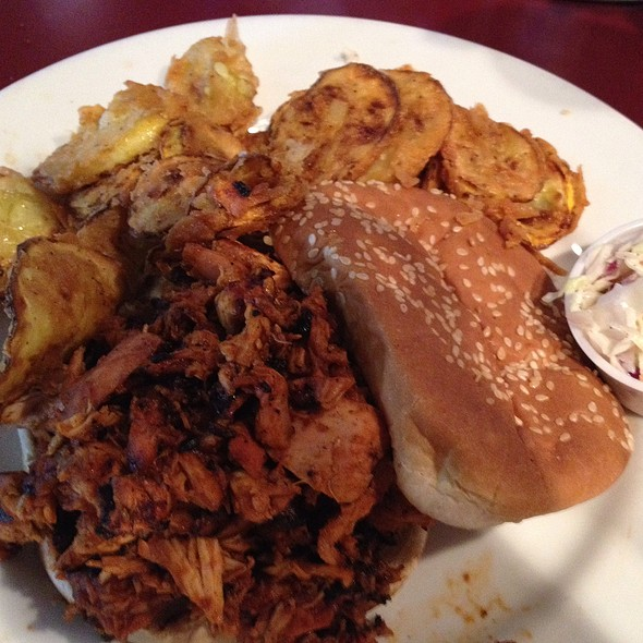 Pulled Chicken Sandwich With Fried Squash @ McKoy's Smokehouse And Saloon