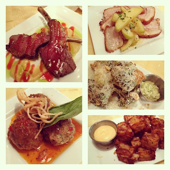 - From top left clockwise, lamb pops with sweet corn purée, crispy pork belly, fried broccoli with basil aioli, house-made tater tote with house-made mayo, and meatballs with a sweet chili sauce. @ Venture Kitchen & Bar