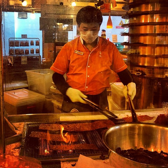 How they make beef jerky. Delicious! @ Chinatown