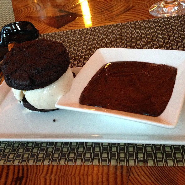 Ice Cream Sandwich With Chocolate Peanut Sauce - Solstice, Stowe, VT