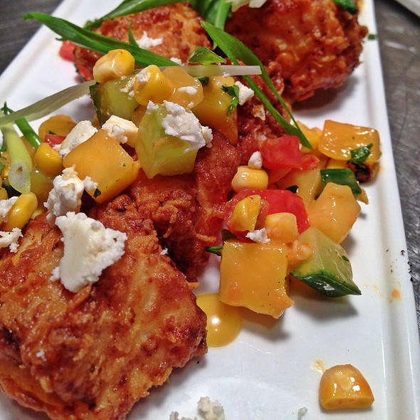 Mahi Mahi Bites Marinated In Spiced Buttermilk, Crispy Fried, Grilled Corn And Mango Salsa, Queso Fresco, Spicy Passion Fruit Vinaigrette - The Grille Fashion Cuisine, Wellington, FL