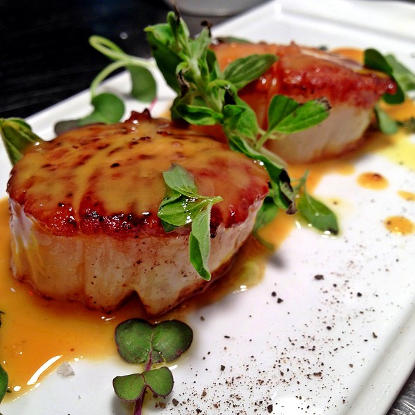 Seared Scallops, Passion Fruit Butter Sauce, Fresh Oregano, Sea Salt - The Grille Fashion Cuisine, Wellington, FL