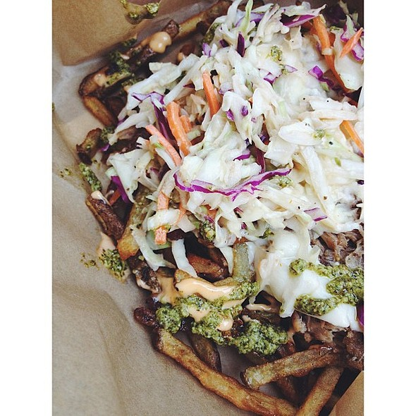 Pork Fries from Feastie Boys with Slaw & Pesto @ Feastie Boys