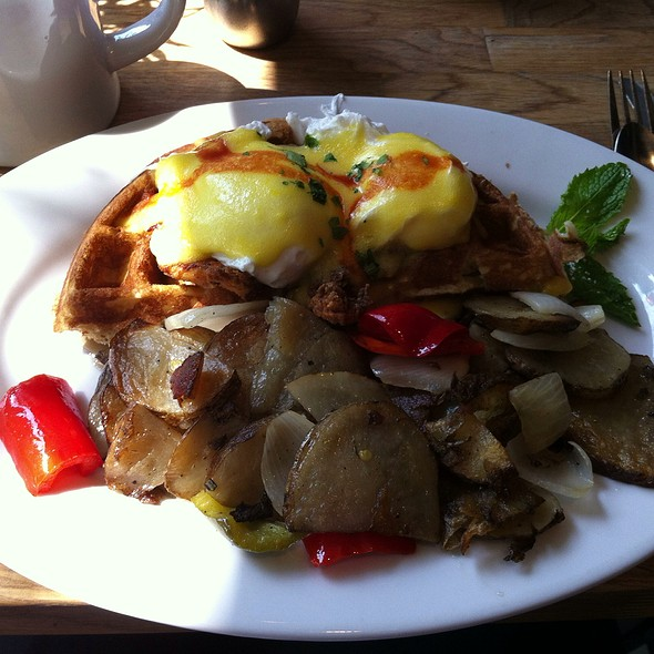 Chicken And Waffles Benedict @ Green Eggs Cafe