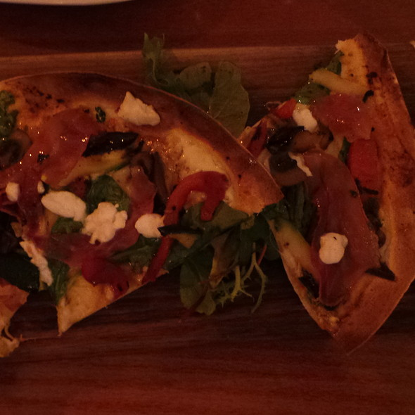 Flatbread with Vegetables, Ham, Goat Cheese @ The Village Cafe