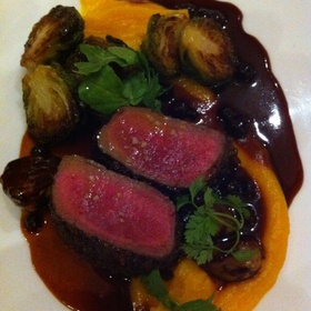 Venison With Butternut Pureee and Caramelized Fall Vegetables In Baldamic Reduction