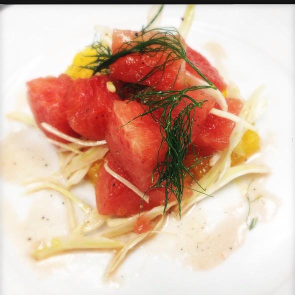 La Watermelon, Navel Orange, Iced Fennel And Red Wine Vinaigrette Dressed Market Salad. @ Ste. Marie