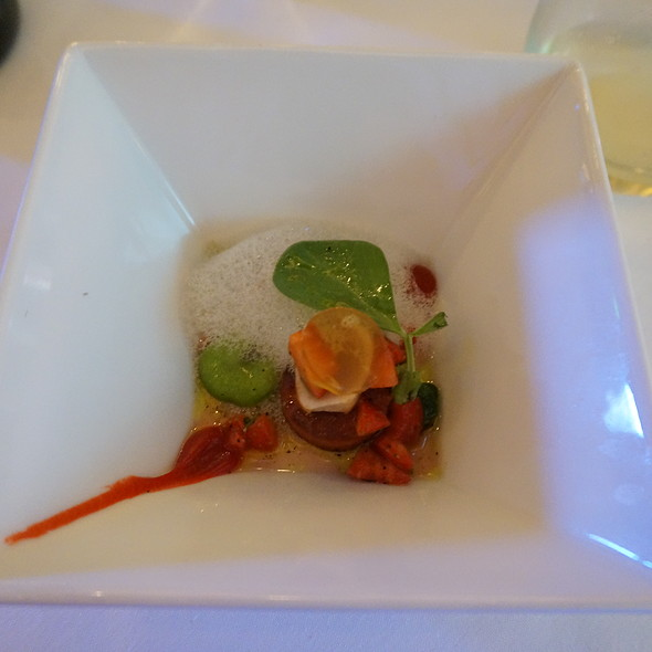 Rabbit, fava beans, strawberries, beer foam