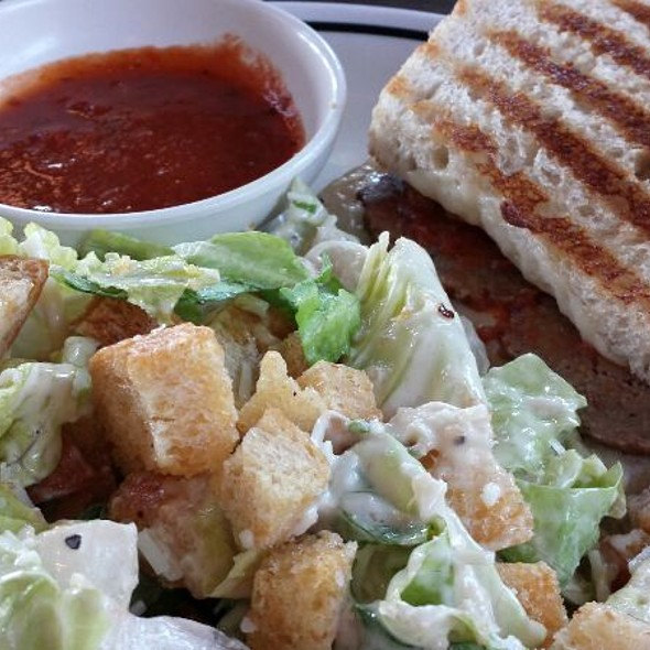 Meatball Panini & Caesar Salad at Corner Bakery Cafe