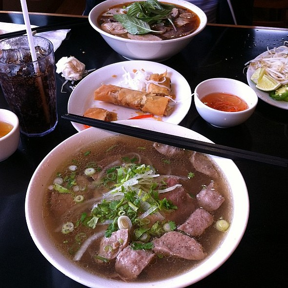 Pho fix after work. Rare beef, cooked beef, and beef balls. & Spicy beef and pork knuckles. A side of spring rolls. @ Thai Son Restaurant