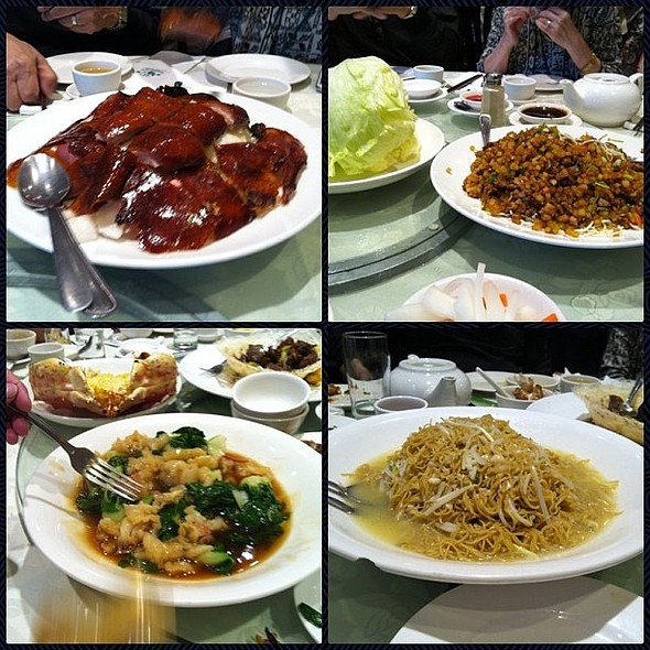 "The other good mentions of tonight's dinner. Peking duck, lettuce wrap, ""Fa gau"" and choi, king crab juice noodles @ Western Lake Chinese Restaurant"