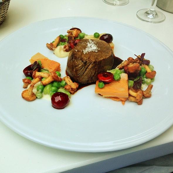 Beef Filet With Chereies And Sweet Potato Gratin