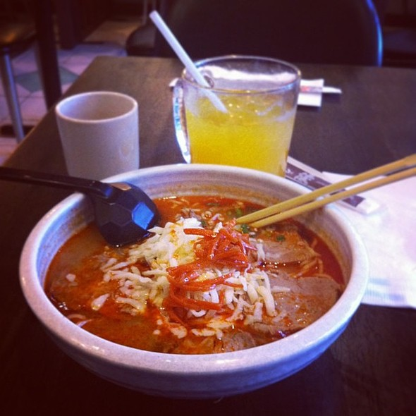 """Ystd's lunch. Think this was """"Hellfire Ramen"""" and Passionfruit Soda. Spicy miso base with Japanese style BBQ pork @ Yuu Japanese Tapas"""