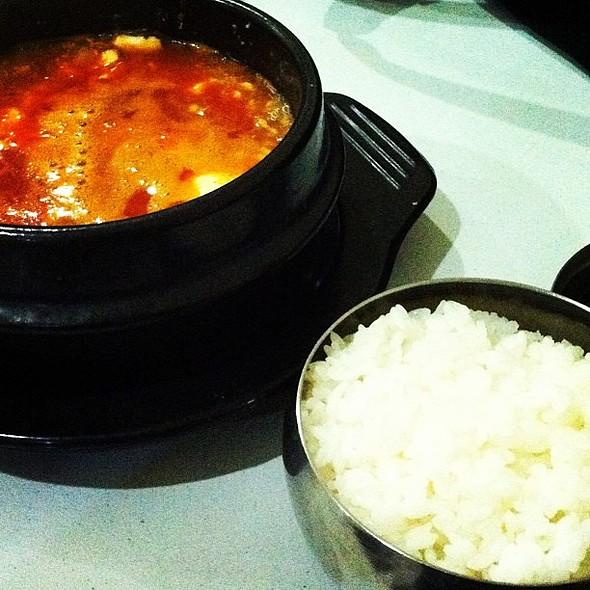 Sundubujjigae and rice! Late night dinner! :D @ Alladin 24