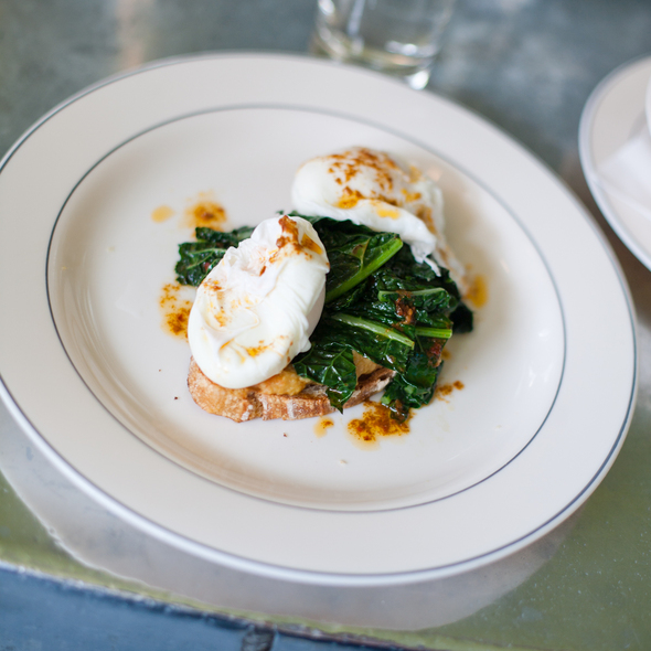 Poached Eggs with Kale & Pea Purée on Harissa Bread @ Cafe Colette