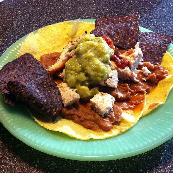 Open-Faced Soft Taco With Chicken And Refried Beans @ My Red House