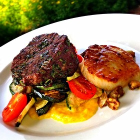 WineMakersDinner:  herb crusted beef filet & scallop w/ grilled summer veg & yellow pepper puree