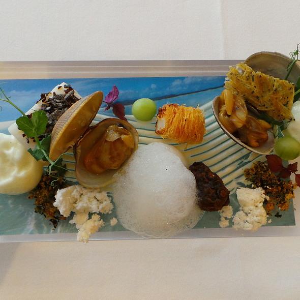 Whisper of the Sea: Sauteed Vongole and Turbot, Scallop, Braised Octopus, Apple Foam, Kombu @ Nagaya