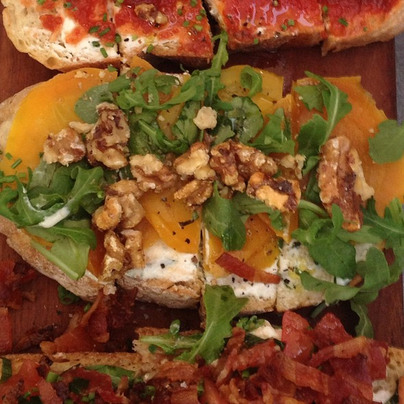 Golden Beets With Goat Cheese And Arugula Bruschetta