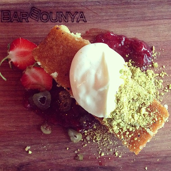 Pistachio & yogurt cake with vanilla yogurt cream @ barbounya